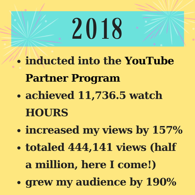 My 2019 Goals - My 2018 YouTube Accomplishments